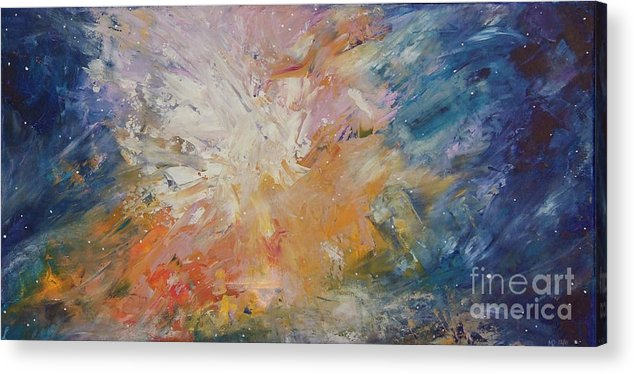Stars Acrylic Print featuring the painting Galactic Nebula 4 by Martina Dresler