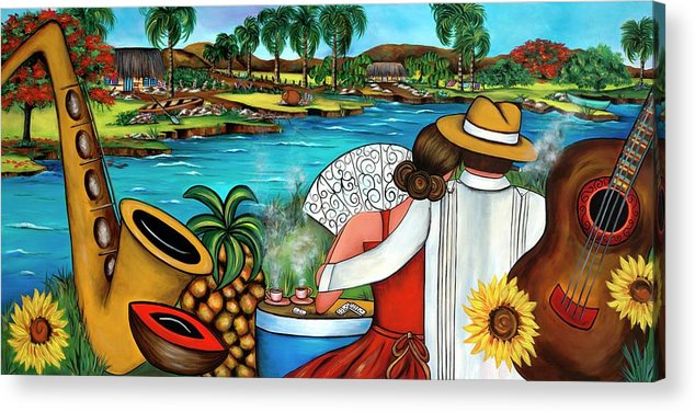 Cuba Acrylic Print featuring the painting A Place To Remember by Annie Maxwell