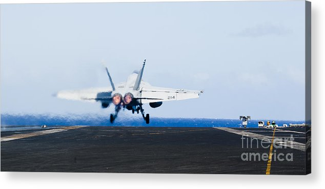 Afterburner Acrylic Print featuring the photograph An Fa-18e Super Hornet Launches by Stocktrek Images