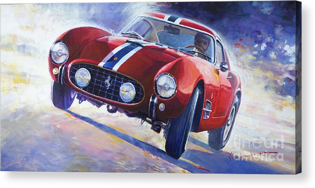 Automotive Acrylic Print featuring the painting 1956 Ferrari 250 Gt Berlinetta Tour De France 1956 by Yuriy Shevchuk