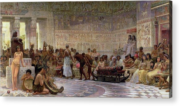 Egyptian Acrylic Print featuring the painting An Egyptian Feast by Edwin Longsden Long