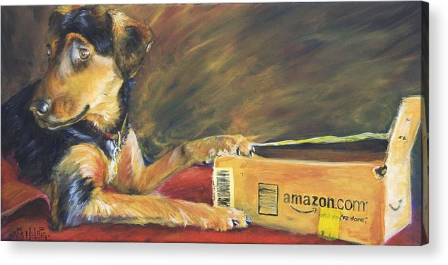 Dog Acrylic Print featuring the painting And Youre Done by Nik Helbig
