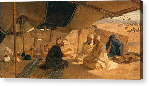 Arabs Acrylic Print featuring the painting Arabs In The Desert by Frederick Goodall