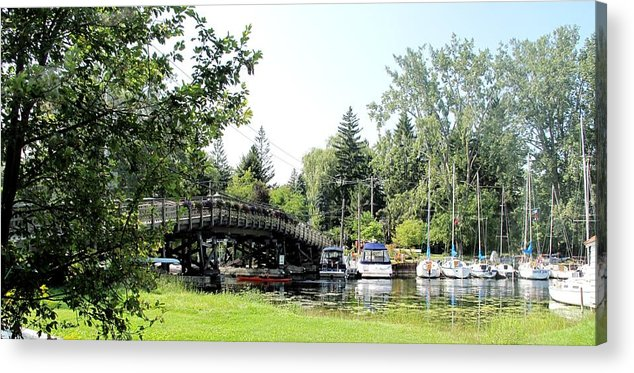 Yahcts Acrylic Print featuring the photograph Bridge To The Club by Ian MacDonald