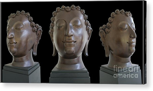 Buddha Head Photography Sculpture Acrylic Print featuring the photograph Buddha Head by Ty Lee