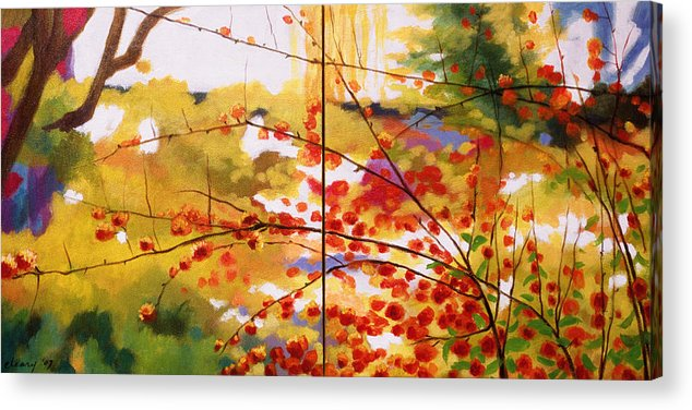 Landscape Acrylic Print featuring the painting Chinese Garden Grace by Melody Cleary