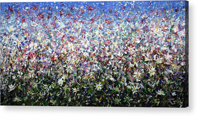 Daisies Acrylic Print featuring the painting Daisies by Mario Zampedroni