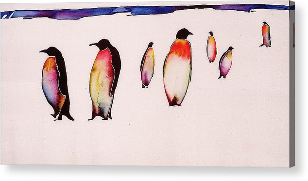 Penguins Acrylic Print featuring the tapestry - textile Emperors On Ice by Carolyn Doe