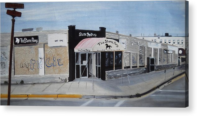 Acrylic Painting Of The Stone Pony Acrylic Print featuring the painting End Of An Era by Patricia Arroyo