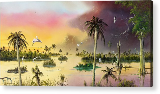 Landscape Acrylic Print featuring the painting Everglades by Don Griffiths