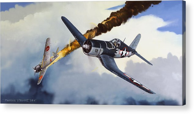 Military Acrylic Print featuring the painting First Kill For The Jolly Rogers by Marc Stewart