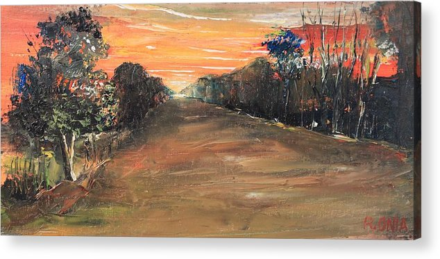 Sunset Acrylic Print featuring the painting Freedom Road by Remegio Onia
