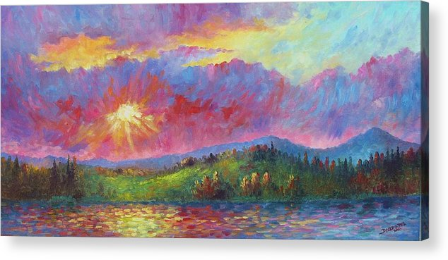 Landscape Acrylic Print featuring the painting Front Range Sunset by David G Paul