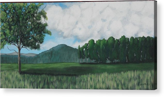 Landscape Acrylic Print featuring the painting Hedgerow by Candace Shockley