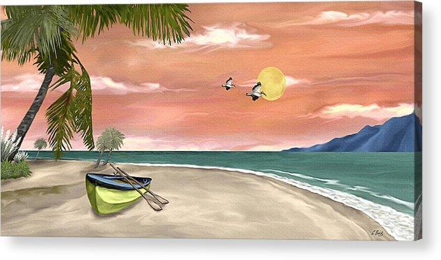 Tropical Island Boat Sunset Palms Seascape Gordon Beck Art Acrylic Print featuring the painting Island Boat by Gordon Beck