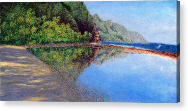 Rainbow Colors Pastel Acrylic Print featuring the painting Ke'e Morning by Kenneth Grzesik