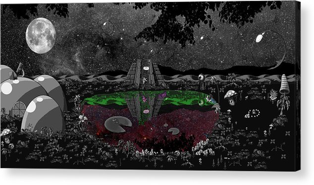 Landscpe Acrylic Print featuring the digital art Lake Of Dreams by Rox Flame
