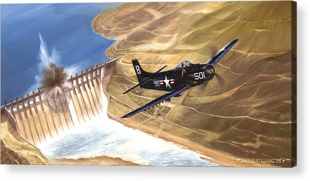 Military Acrylic Print featuring the painting Last Of The Dambusters by Marc Stewart