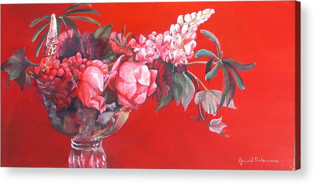 Floral Painting Acrylic Print featuring the painting Lupin by Muriel Dolemieux