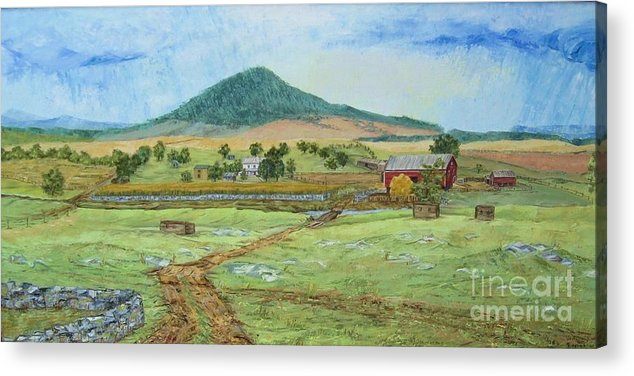 Landscape With Hill In Center Background Acrylic Print featuring the painting Mole Hill Panorama by Judith Espinoza