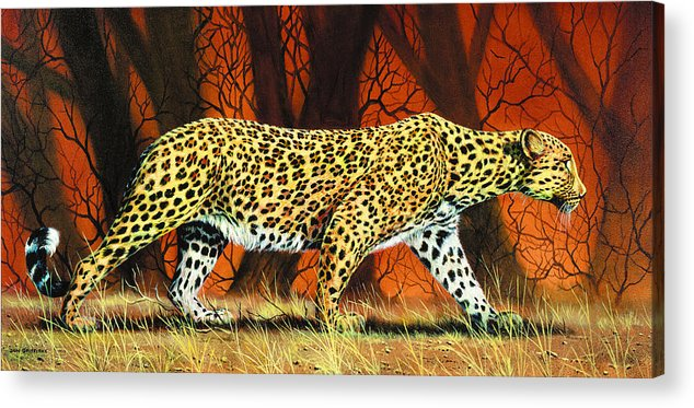 Leopard Acrylic Print featuring the painting On The Prowl by Don Griffiths
