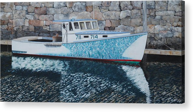 Lobster Boat Acrylic Print featuring the painting Portland Lobster Boat by Steven Fleit