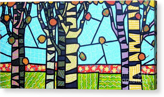 Birch Trees Acrylic Print featuring the painting Quilted Birch Garden by Jim Harris