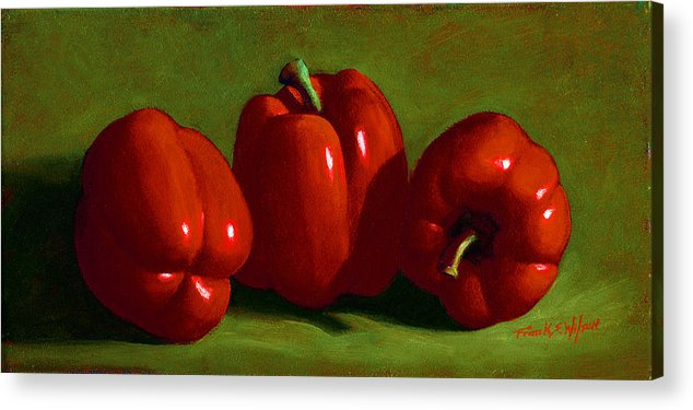 Red Peppers Acrylic Print featuring the painting Red Peppers by Frank Wilson