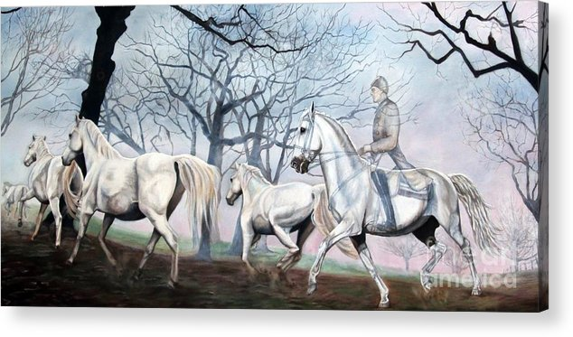 Lippizaner Acrylic Print featuring the painting Remembering Days Of Grandeur by Heidi Parmelee-Pratt