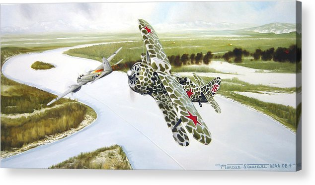 Aviation Acrylic Print featuring the painting Russian Roulette by Marc Stewart