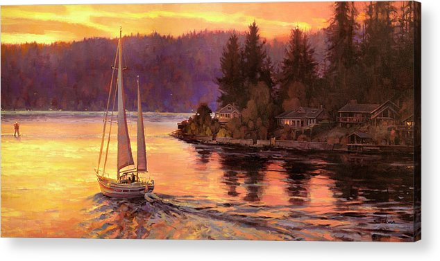 Sailing Acrylic Print featuring the painting Sailing On The Sound by Steve Henderson