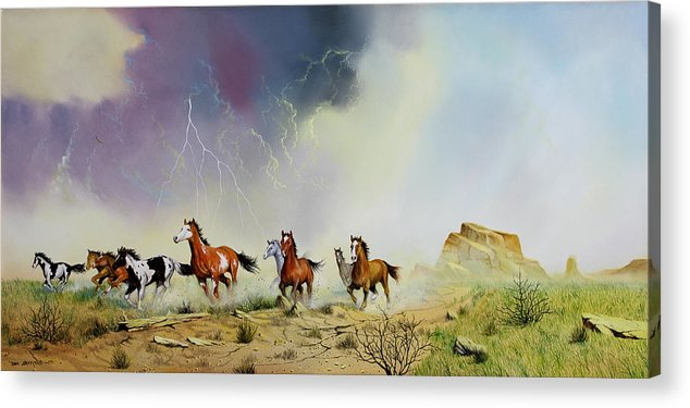 Mustangs Acrylic Print featuring the painting Stampede by Don Griffiths