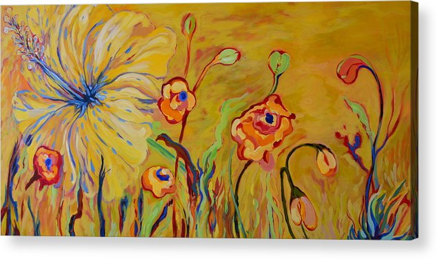 Flowers Acrylic Print featuring the painting Summer Hibiscus Flower by Gregory Merlin Brown