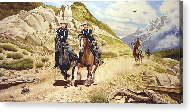 Western Acrylic Print featuring the painting The Chase by Marc Stewart