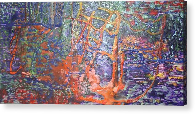 Abstract Acrylic Print featuring the painting The Hidden Playground by Heather Hennick
