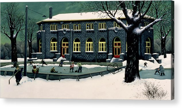 Ice Hockey Acrylic Print featuring the painting The Skaters by Stephane Poulin