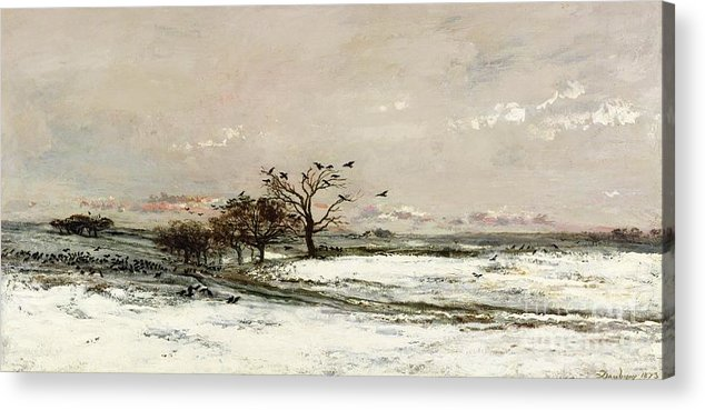 The Acrylic Print featuring the painting The Snow by Charles Francois Daubigny