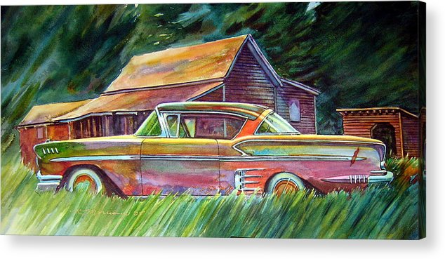 Rusty Car Chev Impala Acrylic Print featuring the painting This Impala Doesn by Ron Morrison
