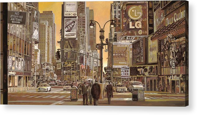 New York Acrylic Print featuring the painting Times Square by Guido Borelli