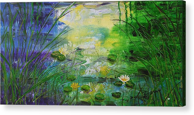 Water Lily Acrylic Print featuring the painting Water Lily Pond 1 by Barbara Harper