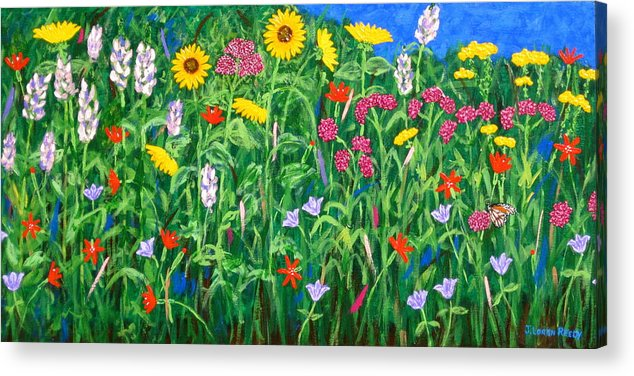 Wildflowers Painting Acrylic Print featuring the painting Wildflowers by J Loren Reedy