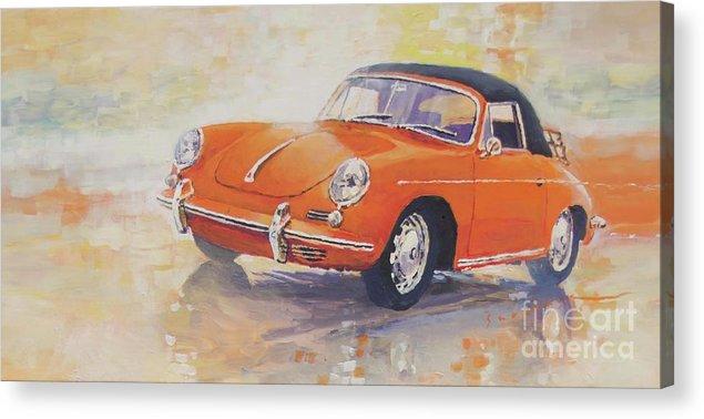 Shevchukart Acrylic Print featuring the painting 1965 Porsche 356 C Cabriolet by Yuriy Shevchuk