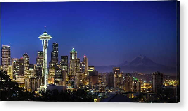 Dawn Acrylic Print featuring the photograph Seattle Skyline by Sebastian Schlueter (sibbiblue)