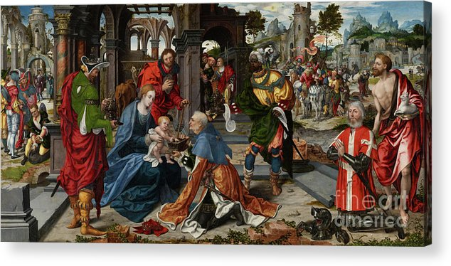 Adoration Acrylic Print featuring the painting The Adoration Of The Magi With Donor by Noel Bellemare