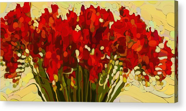 Red Bouquet Acrylic Print featuring the painting Red Bouquet by Dorinda K Skains