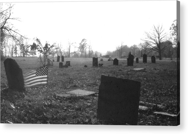 Flag Acrylic Print featuring the photograph 10602-16bw Memorial Day 1991 by Mike Davis