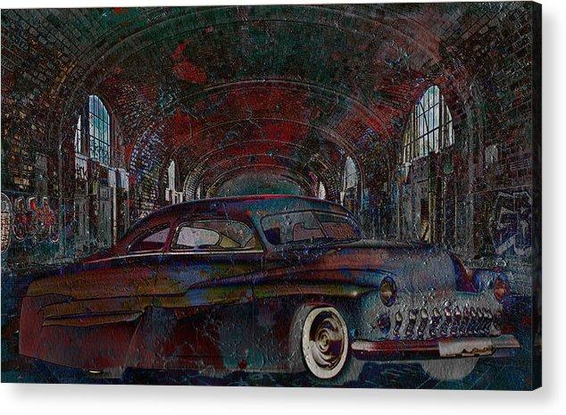 Sled Acrylic Print featuring the digital art Grunge Sled by Greg Sharpe
