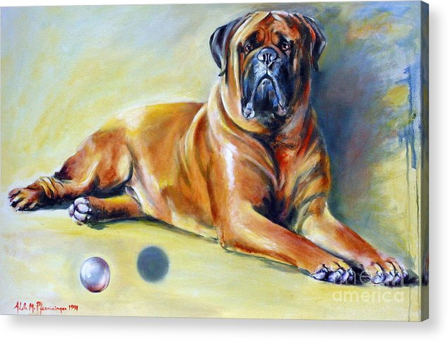Dogs Acrylic Print featuring the painting My Ball by Adele Pfenninger