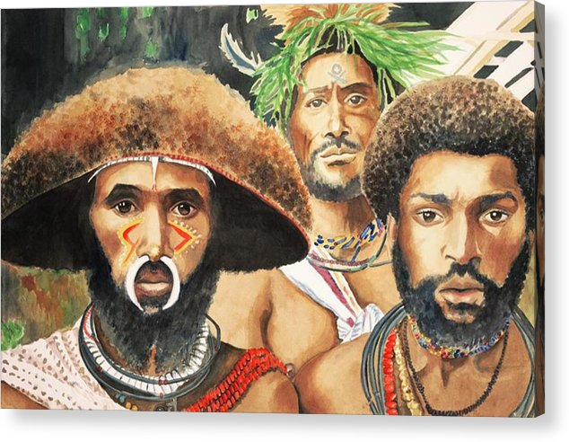 Papua Acrylic Print featuring the painting Men From New Guinea by Judy Swerlick