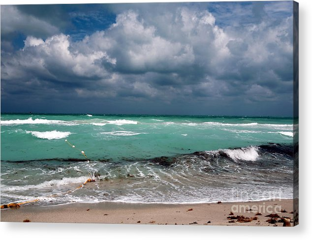 South Beach Storm Clouds Acrylic Print featuring the photograph South Beach Storm Clouds by John Rizzuto